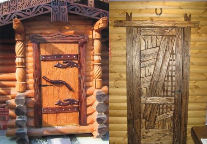 Дизайн входных дверей в баню
